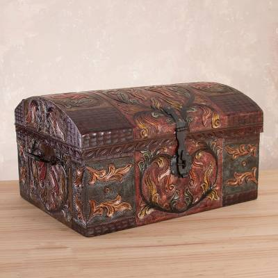 Leather decorative box, 'Autumn Leaves' - Artisan Crafted Tooled Leather Chest with Wrought Iron