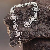 Sterling silver link bracelet, 'Daisy Chain'