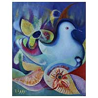 'The Blue Dove' (2007) - Original Oil Painting Peru Fair Trade Art (2007)