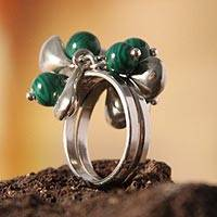 Malachite cocktail ring, 'Raceme' - Malachite cocktail ring