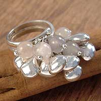 Rose quartz cocktail ring, 'Raceme' - Sterling Silver and Rose Quartz Cluster Ring