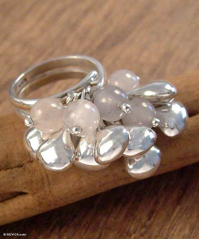 Sterling Silver and Rose Quartz Cluster Ring
