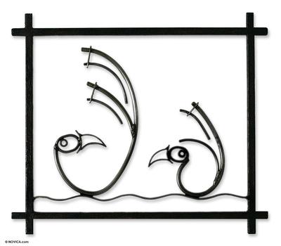 Steel wall art, 'Chancay Birds' - Steel wall art