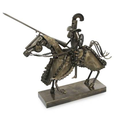 Armored Knight Sculpture of Recycled Motorcycle Parts