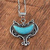 Amazonite necklace, 'Inca Goblet' - Peruvian Sterling Silver and Amazonite Necklace