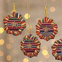 Cotton ornaments, 'Suns and Stars' (set of 6) - Cotton ornaments (Set of 6)