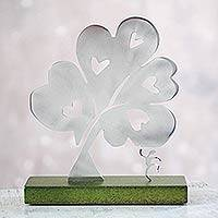 Aluminum sculpture, 'Tree of Hearts I' - Metal Art Peace aluminium Sculpture