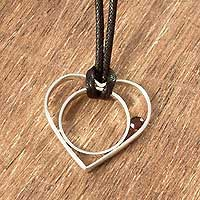 Garnet heart necklace, 'Passionate Heart' - Garnet and Silver Heart Pendant Necklace