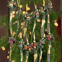 Cotton ornaments, 'Blue Christmas Carol' (set of 12)