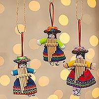 Cotton ornaments, 'Girl Choir' (set of 6)