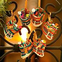 Ornaments, 'Christmas Stockings' (set of 12) (Peru)