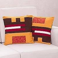Alpaca cushion covers, 'Wari Art' (pair) - Alpaca Blend Brown and Yellow Cushion Covers