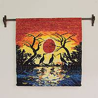 Wool tapestry, 'Sunset in Manu' - Collectible Wool Bird Tapestry Wall Hanging