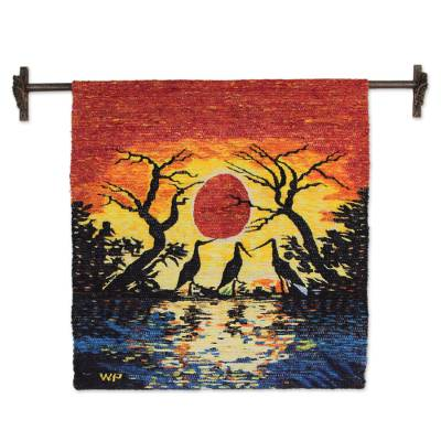 Collectible Wool Bird Tapestry Wall Hanging