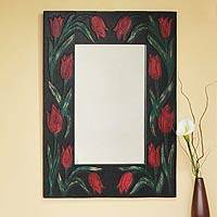Leather wall mirror, 'Red Tulips' - Red Floral Handcrafted Leather Wall Mirror