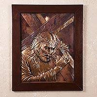 Copper panel, 'Crown of Thorns' - Religious Copper Wall Art of Jesus Carrying the Cross