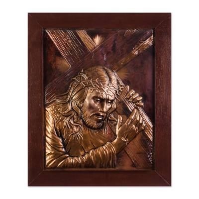 Religious Copper Wall Art of Jesus Carrying the Cross