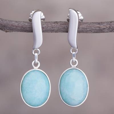 Amazonite dangle earrings, 'Celestial Flame' - Amazonite dangle earrings
