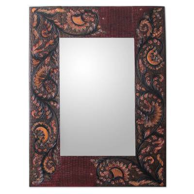 Leather mirror, 'Colonial Sunflowers' - Leather mirror