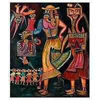 'Battle Trophies' - Moche Ancestors Original Oil Painting