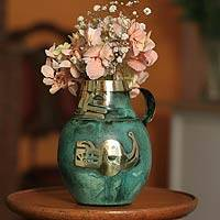 Copper and bronze vase, 'Inca Icons' - Copper and bronze vase