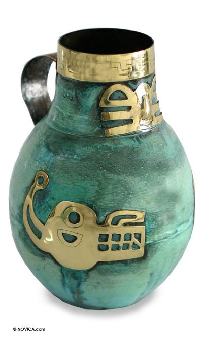 Copper and bronze vase, 'Inca Icons' - Copper and bronze vase