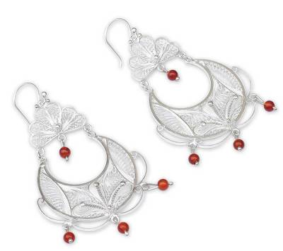 Hand Made Fine Silver Filigree Carnelian Earrings