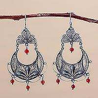 Carnelian chandelier earrings, 'Filigree Bouquet' - Handmade Fine Silver and Carnelian Chandelier Earrings
