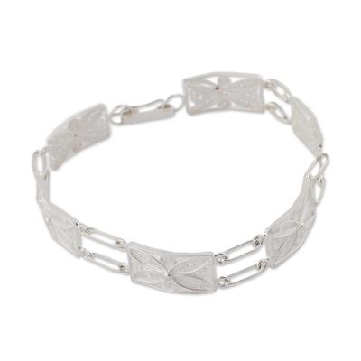 Unique Fine Silver Filigree Link Bracelet