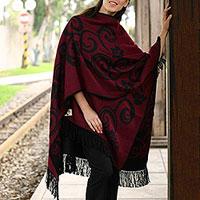 Reversible alpaca blend ruana cloak, 'Cherry Blossom' - Reversible alpaca blend ruana cloak