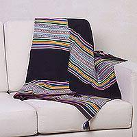 Wool lap throw blanket, 'Gachakata Stripes' - Wool Striped Lap Throw Blanket