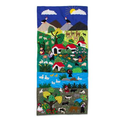 Andean Landscape Handmade Applique Folk Art Wall Hanging