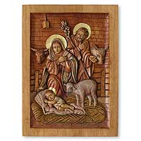 Cedar relief panel Nativity in a Stable Peru