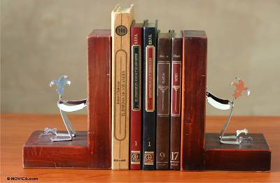 Unique Recycled Aluminum Sculpture Bookends from Peru