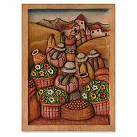 Cedar relief panel, 'Andean Flower Market' - Cedar Wood Relief Panel