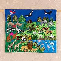 Applique wall hanging, 'Garden of Eden' - Applique Wall Hanging with Garden of Eden Animal Theme