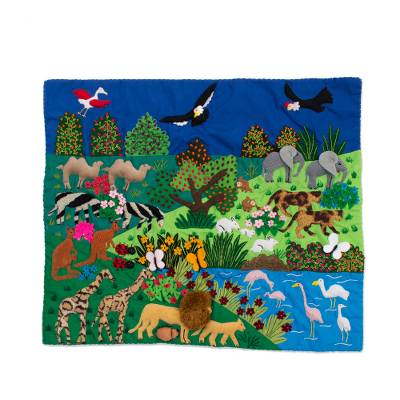 Applique Wall Hanging with Garden of Eden Animal Theme