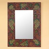Leather mirror, 'Italian Vineyard' - Leather mirror