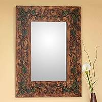 Leather mirror, 'Green Ivy' - Leather mirror