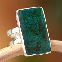 Chrysocolla cocktail ring, 'Amazon Blue' - Artisan Crafted Sterling Cocktail Chrysocolla Ring