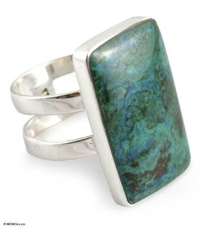 Artisan Crafted Sterling Cocktail Chrysocolla Ring
