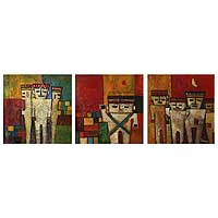 'Chancay Effigies' (triptych) - Fertility Dolls Peruvian Original Painting (Triptych)
