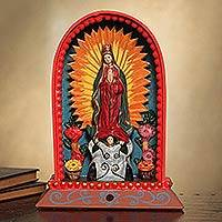 Retablo, 'Our Lady of Guadalupe' - Religious Wooden Catholic Retablo Sculpture