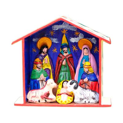 Handmade Painted Ceramic Nativity Retablo Sculpture from Peru