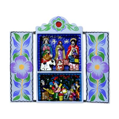 Christmas Nativity Retablo Folk Art Handmade in Peru
