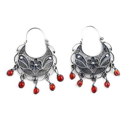 Unique Floral Fine Silver Filigree Earrings with Carnelians