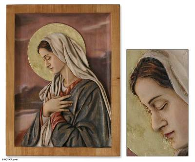 Cedar relief panel, 'Sweet Virgin Mary' - Christianity Wood Panel of the Virgin Mary with Bronze Leaf