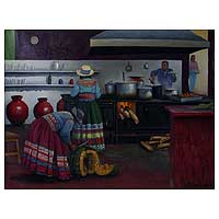 'Do�a Josefa's Kitchen' - Original Oil Realist Painting