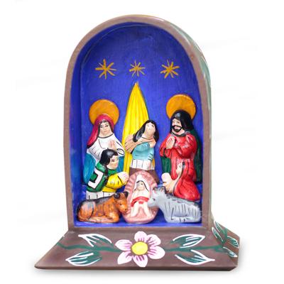 Christianity Wood Multicolor Folk Art Nativity Scene