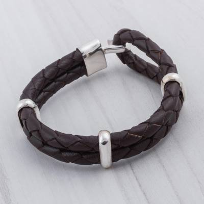 Men's leather braided bracelet, 'Desert Paths' - Men's Sterling Silver and Leather Wristband Bracelet